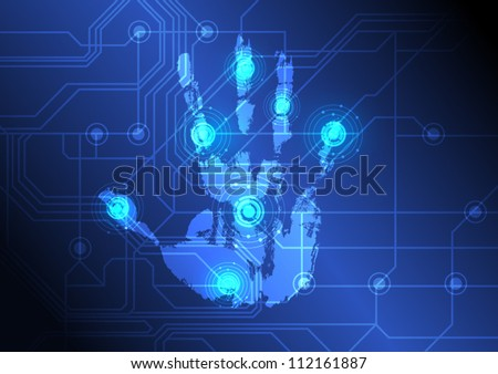vector abstract hand with scan