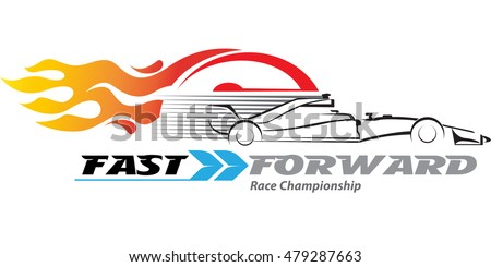 Vector Abstract, High Speed Racing Car With A Speedometer And A Fire  Burning In