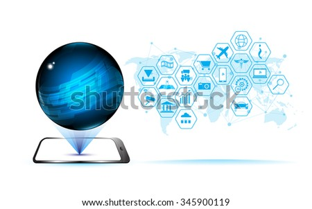 vector abstract hologram technology communication globe sci fi pattern design