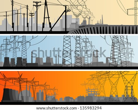 Vector abstract horizontal banner: industrial part of city with high voltage electric transmission line tower.