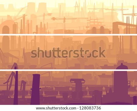 Vector abstract horizontal banner: industrial part of city with mills, factories, chimneys in the morning.