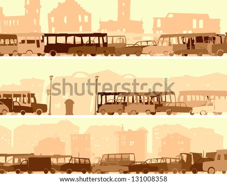 Vector abstract horizontal cartoon banner with many cars in traffic at rush hour street.
