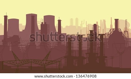 Vector abstract horizontal illustration: industrial part of city with factories, refineries and power plants