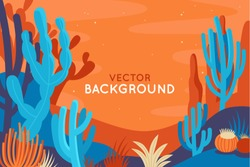 Vector abstract illustration in flat linear style and bright colors -  nature landscape illustration with plants, trees and copy space for text for banners, posters and placards