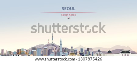 Vector abstract illustration of Seoul city skyline on colorful gradient beautiful day sky background with flag of South Korea