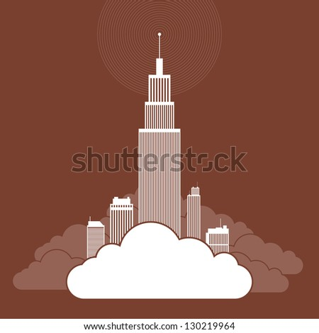 Vector abstract illustration of several buildings on a cloud, illustrating companies using cloud network for their businesses.