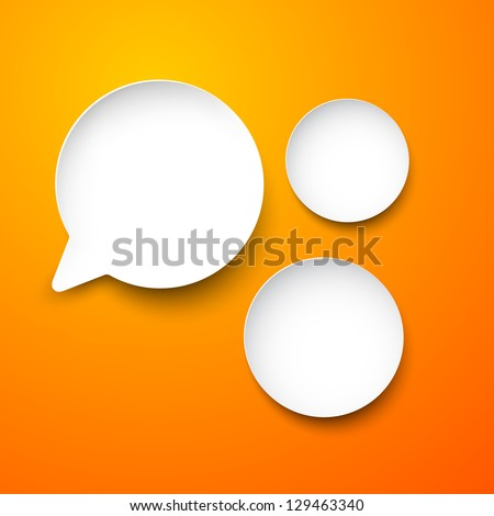 Vector abstract illustration of white paper round speech bubbles on orange background. Eps10.