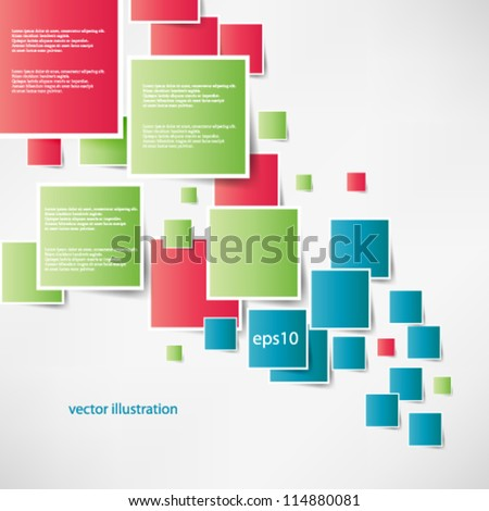 Vector abstract illustration overlapping geometrical shapes with bright colors background - eps10 - stock vector