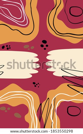 Vector abstract illustration. The poster is hands in the center. Trendy creative collage with different lines and shapes. Modern graphic design. An unusual piece of art. Vector. Isolated.