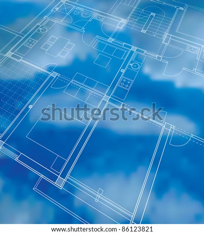 vector abstract illustration with cloudy blueprint