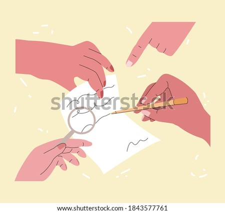 Vector abstract illustration with hands that sign and check document. The way of turnover documents, amendments, and revisions is shown. It can be used in web design, banners, etc. Foto stock ©