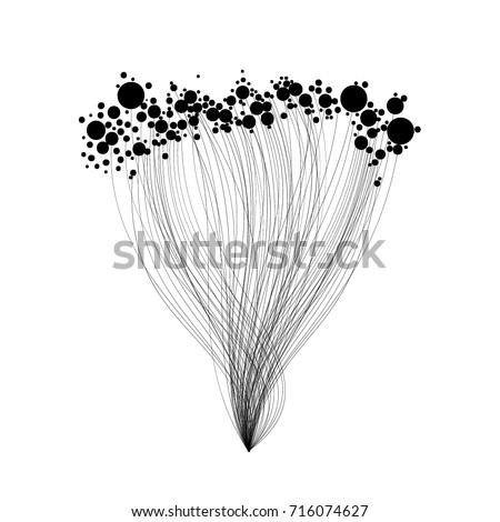 Vector abstract illustration with lines and circles in black and white colors