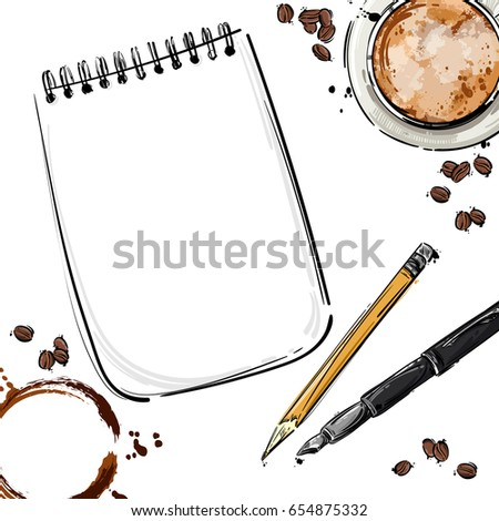Vector abstract illustration with notebook, pen, pencil, coffee mug and coffee beans. Isolated background for design of postcard, banner, poster and other. Business and office.