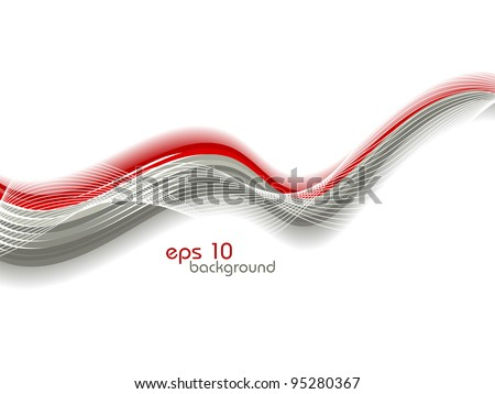 Vector abstract illustration with red and grey waves on bubbles background.