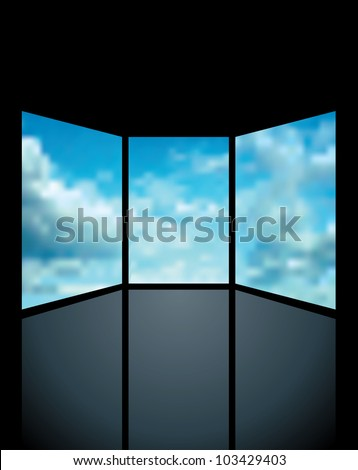 vector abstract illustration with three screens with clouds