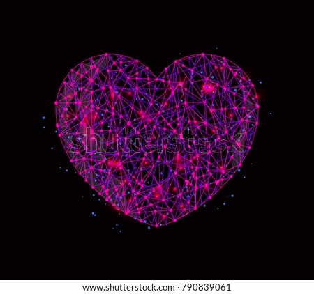Vector abstract image of heart in the form of a starry sky or space, consisting of points and lines, stars and the universe. Blood donation or World heart day 29 September medical wireframe concept.