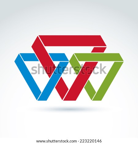 Vector abstract intersected isosceles triangles. Geometric colorful figures isolated on white background, corporate brand symbol.
