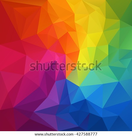 vector abstract irregular polygon background with a triangular pattern in full color rainbow spectrum colors - Shutterstock ID 427588777