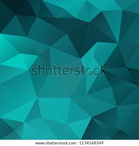 vector abstract irregular polygonal square background - triangle low poly pattern - blue green, aqua, turquoise, teal color