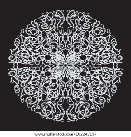 Vector abstract lace pattern. White pattern on black background