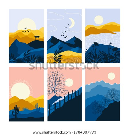 vector abstract landscape set