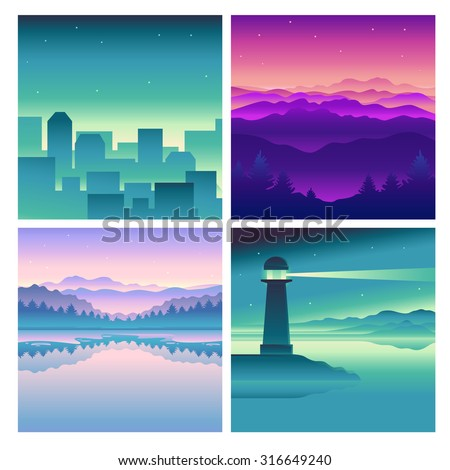 vector abstract landscapes