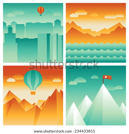 vector abstract landscapes for