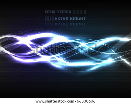 Vector abstract lines design on dark blue and violet background. Composition has very bright highlights.