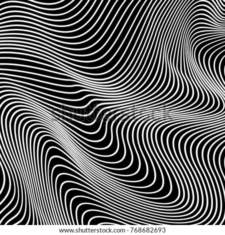 Vector abstract lines pattern. Waves background with distortion effect. Optical illusion.