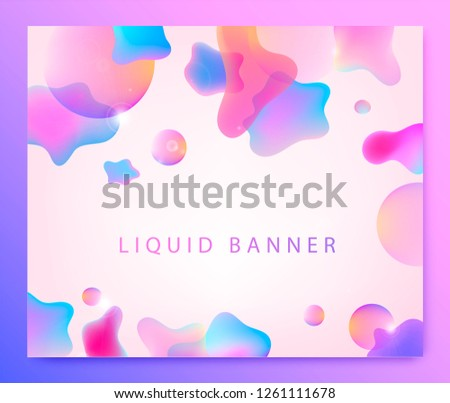 Vector abstract liquid bckground. Fluid 3d shapes poster, web page, banner #1261111678