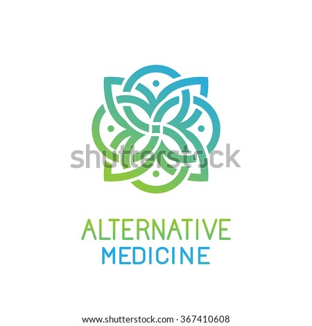 Vector abstract logo design template for alternative medicine, health center and yoga studios - emblem made with leaves and lines