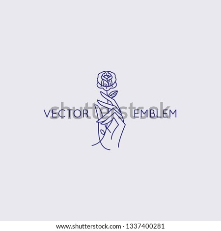 Vector abstract logo design template in trendy linear minimal style - hand with rose - symbol for cosmetics, jewellery, beauty products