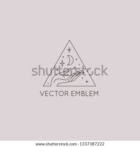 Vector abstract logo design template in trendy linear minimal style - hands with moon and stars - symbol for cosmetics, jewellery, beauty products