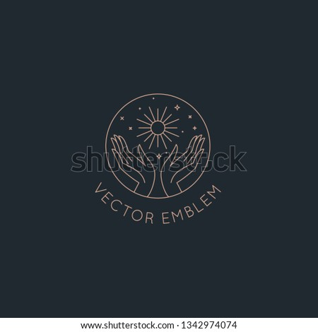 Vector abstract logo design template in trendy linear minimal style - hands with sun, moon and stars - symbol for cosmetics, jewellery, beauty products