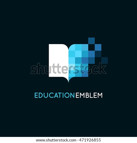 Vector abstract logo design template - online education and learning concept - book icon and pixels - emblem for courses, classes and schools #471926855