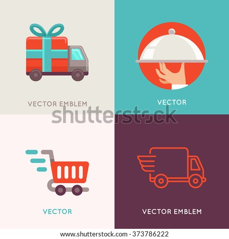 Vector abstract logo design templates in flat style - delivery and shipping service, food catering and moving company - internet shopping icons Foto stock ©