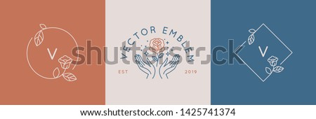 Vector abstract logo design templates in trendy linear minimal style - hands with rose - symbols for cosmetics, jewellery, beauty and handmade products, tattoo studios