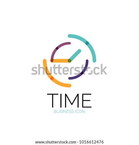 Vector abstract logo idea, time concept or clock business icon. Creative logotype design template, linear flat thin line design