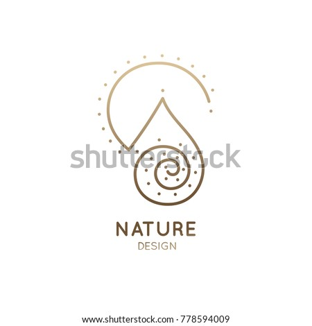 Vector abstract logo of nature. Linear round icon of simple landscape with mountain, river, sun. Minimal logotype for business emblems, badge for travel, tourism, ecology concepts, health,yoga Center