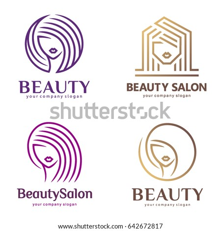 Vector abstract logo set for beauty salon, hair salon, cosmetics