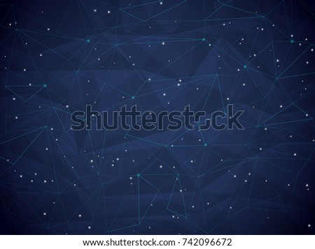 Vector Abstract low poly, Illustration high computer technology dark blue color background. Hi-tech digital technology concept