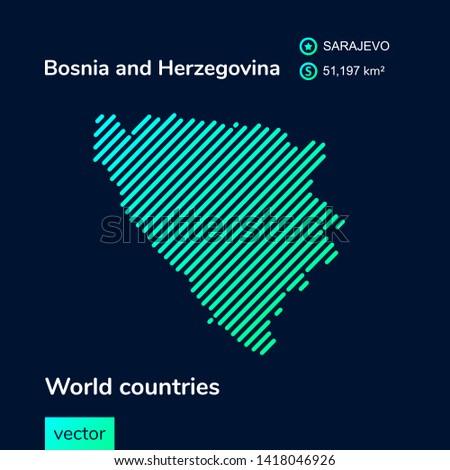 vector abstract map of bosnia