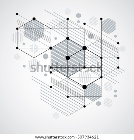 Vector abstract monochrome background created in Bauhaus retro style. Modern geometric composition can be used as templates and layouts. Engineering technological wallpaper made with honeycombs.