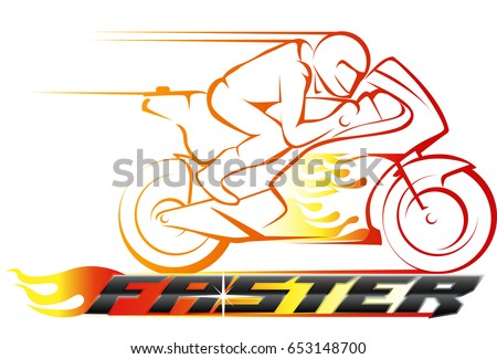 Vector abstract, motor racing on fire as logo or symbol racing event