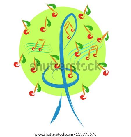 vector abstract music tree sketch illustration