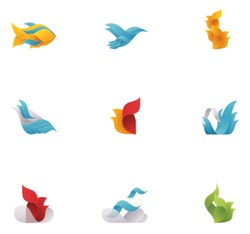 Vector abstract nature elements. Icon set includes fish, bird, fire, sea waves, sky, clouds and plants symbols