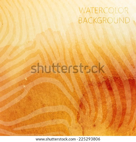 vector abstract orange watercolor background with animal zebra pattern for your design