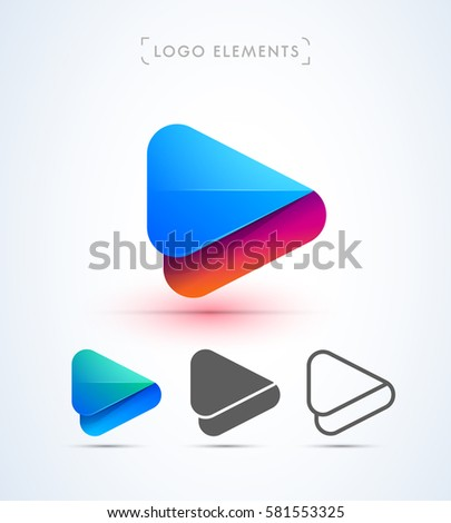 Vector abstract origami play button logo. Can be used as an app icon and company corporate identity.