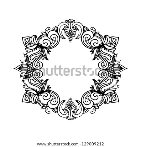 Vector abstract ornamental decorative frame, hand drawn