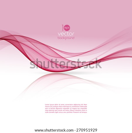 Vector Abstract pink curved lines background. Template brochure design.